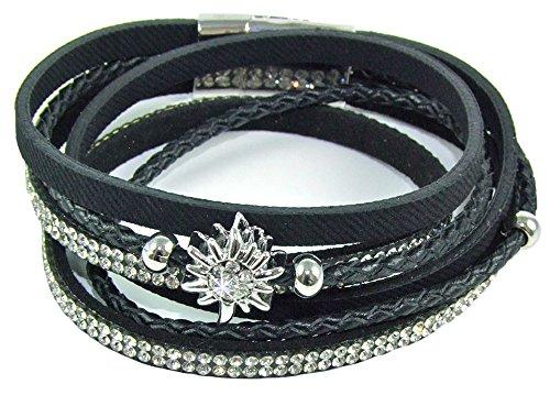 Wickelarmband mit Strass und Edelweiß für Damen - Schwarz