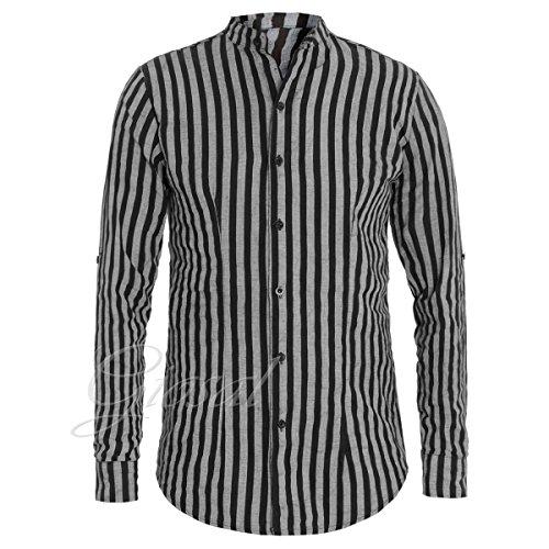 Giosal camicia uomo collo coreano righe slim lino nera rigata casual c1352a-l