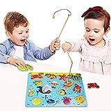 Lewo Magnetisches Holzpuzzles Angeln Spielzeug für 3 4 5 Jährige Kind Baby Kleinkind Jungen Mädchen Magnet Spielzeug mit 114Fischen und 2 Magnetpol von Muwanzi