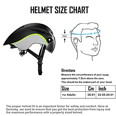Exclusky Cycle Bike Helmet for Men with Detachable Shield Visor Adjustable 56-61cm Lightweight Safety Protection In-Mold from Exclusky