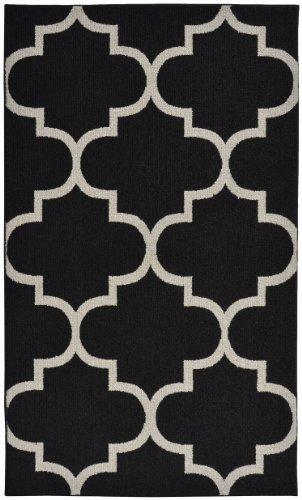 (Girlande Teppich groß Vierpass-Bereich Teppich, Polypropylen, schwarz/silber, 5-' by -7')