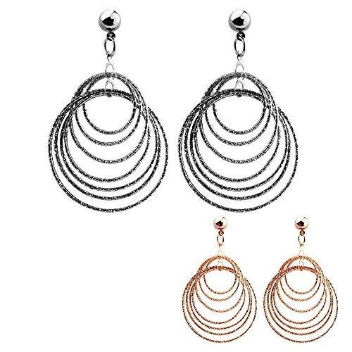 BOBIJOO Jewelry - Boucles d'Oreilles Pendants Rondes Formes Femme Géométriques Attache Clou Couleur Rose Gold ou Argenté Rétro - Unique, Argent Or rose