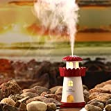 Mamum Lamp Humidifier Lighthouse LED Humidifier Air Diffuser Purifier Atomizer (Red)