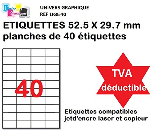 800Selbstklebende Etiketten, 52,5x 29,7mm entweder 20Blatt A440Etiketten 52,5x...