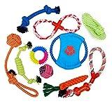 JZK 10 Piezas Juguetes Masticar para Perros Incluyendo Pelota de Cuerda Cuerda de algodón Disco de Vuelo y Anillo de Goma para Perro pequeño Mediano Grande