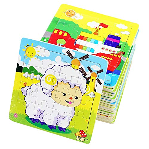 PROW® Rompecabezas de madera 16 piezas niños cuadrados juguete Elefante Panda Cachorro...