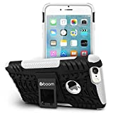 Boom Shock 2 iPhone 6 6S Plus Case With Kickstand Stand. Slim Protective Design. Non Slip Grip. Unique Hybrid Soft & Hard Shockproof Protection Mobile Phone Cover for Apple iPhone. No Risk 3 Year Warranty. (White)