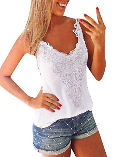 ZANZEA Damen Ärmellos Spitze V-Ausschnitt T-Shirt Tank Tops Weste Vest Bluse 01- Weiß XL (Spitze Bluse V-ausschnitt)