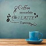 GUDOJK Adesivo da Parete Stickers murali caffè Latte Espresso Decal Adesivi in   Vinile Tazza di Fagioli Home Decor Cucina Cafe Restaurant Murale Rimovibile