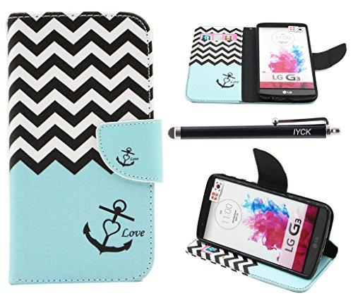 LG G3Fall, iyck Premium PU Leder Flip Folio, der Magnetverschluss Hülle Schutz Schale Wallet Case Cover für LG G3mit Ständer Ständer, gewellt, Anker, LG G3, Wavy Anchor