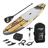THURSO SURF Waterwalker Gonflable Stand Up Paddle SUP 11' x 32'' x 6'' Forfait de Luxe Comprend Pagaie en CARBONE/2+1 Ailerons Quick Lock/Sac de pont/Laisse/Pompe/Sac à dos (Bois, 132)
