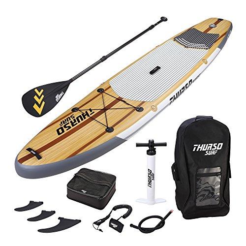 THURSO SURF Waterwalker aufblasbares All Around Stand Up Paddle Board SUP 335 x 91 x 15 cm ZWEISCHICHTIG Deluxe-Paket inclusive Paddel mit KARBON-Schaft/2+1 Flossen mit Schnellverschluss/ Deckbeutel/ Leine/ Pumpe/ Rucksack