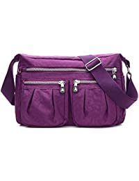 Women'S Multi Pocket Casual Multi Pocket Casual Handbag Travel Bag Messenger Cross Body Bag Tote Purse (Purple...