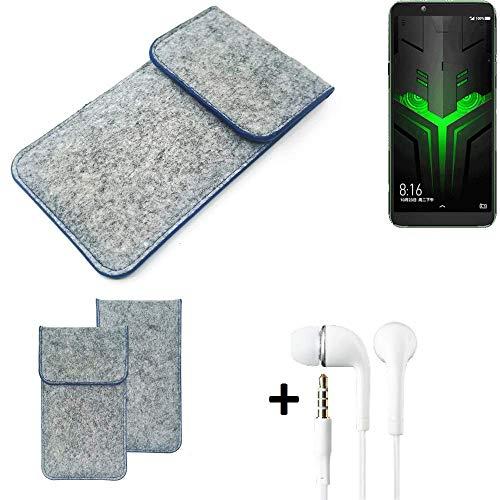 K-S-Trade® Filz Schutz Hülle Für -Xiaomi Blackshark Helo- Schutzhülle Filztasche Pouch Tasche Handyhülle Filzhülle Hellgrau, Blauer Rand + Kopfhörer