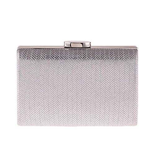 JESSIEKERVIN Clutch Bag Abendtasche Plaid Kunstleder Hard Shell Handtasche Kissen Kleine Quadratische Tasche (Color : Silver) -