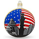 BestPysanky Statue of Liberty, New York City USA Flag Glass Ball Christmas Ornament 4 Inches
