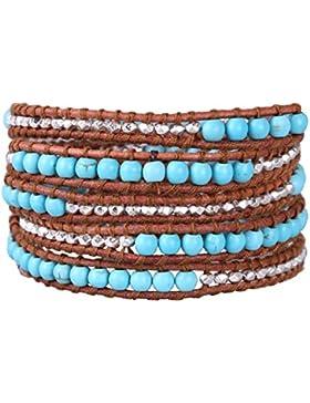 KELITCH Leder Armband HalbHalbedelsteinee Steine Mischen Gold Versilbert Metall Granulat Wickelarmband Damen Armbänder