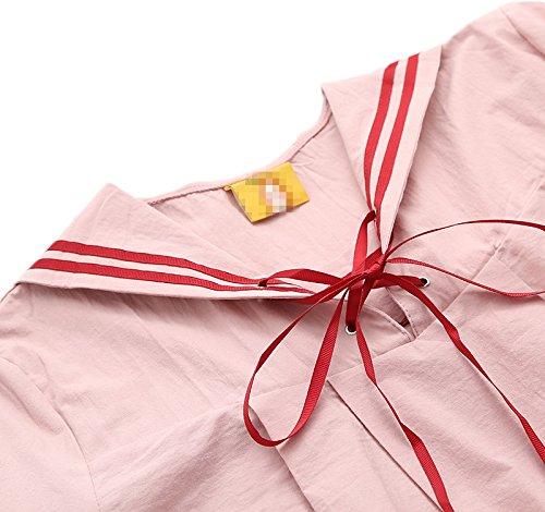 ragazza adorabile posteriore morbido college cravatta marinaio bavero di cotone a maniche lunghe vesti primavera Rose