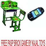 DURABLE KING KIDS STUDY TABLE CHAIR WITH BEN TEN 3 D CHARACTER WITH HEIGHT ADJUSTABLE STUDY TABLE CHAIR FREE PSP BRICK GAME BY KAJAL TOYS