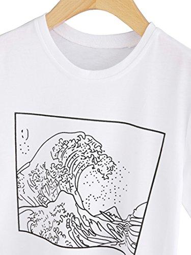 Romwe ROWME Damen Tshirt mit Motiv Muster Kurzarm Sommer Shirt Weiß