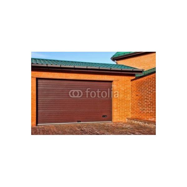 Diseo-de-puerta-de-garaje-automtica-y-de-un-solo-De-colour-rojo-con-diseo-de-la-casa-con-Brick-Wall-XXXL-63711060-lona-140-x-90-cm