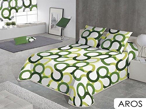 SABANALIA - Colcha Aros (Disponible en Varios Tamaños y Colores), Cama 105-200 x 280, Verde