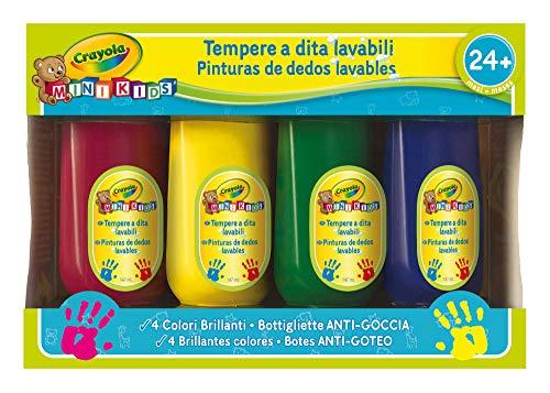 Crayola- mini kids set 4 tempere a dita, lavabile, età 24 mesi, per asilo e tempo libero, colori assortiti, multicolore, 3239