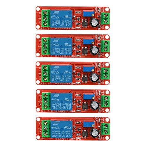 Amazingdeal365 DC 12V Delay Relay Shield NE555 Timer Switch Adjustable Module Automotive Electrical Delay(5PCS) -