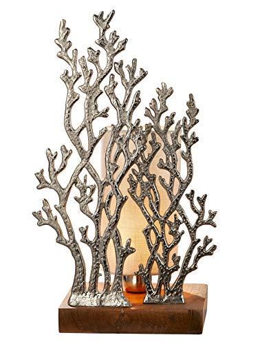 GILDE Lampe Coral - Tischlampe aus Aluminium mit einem Holz-Fuß H 45 cm