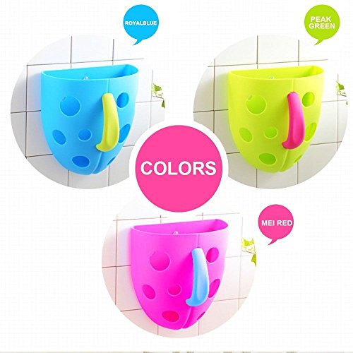 Premium Fun Baby Bath Toy Organizer Holds Lots of Tub Toys, Delights Children, Scoop, Rinse and Drain, Suction Cups and Self Sticking Hook (Pink)