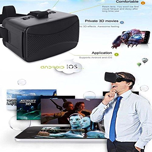 Andoer Head-Mounted Google Cardboard DIY 3D VR Video Movie Game Glasses with Mini Multifunctional Wireless Bluetooth V3.0 Selfie Camera Shutter Gamepad for iPhone Samsung / All 4.0 ~ 6.0