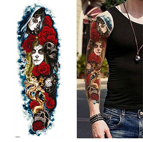 yyyDL Tattoo Aufkleber Full Arm Leg Extra große temporäre Tattoos, Körperkunst für Männer und Frauen - Wolf, Tiger, Bär, Krieger 48 * 17cm (Krieger Erwachsene Kostüme)