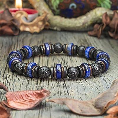 Bracelet Homme perles pierres naturelles Lapis Lazuli Ø10mm, Lave Volcanique Bois Cocotier/Coco Ø8mm Création 1000ola Fait main Made in France BRALAPTUS-18