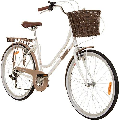 Galano 26 Zoll Cityrad Belgravia 6 Gang Damenfahrrad Mädchenrad Citybike mit Korb, Rahmengrösse:18 Zoll, Farbe:weiß/braun