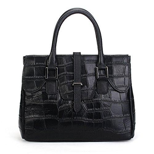 SUNROLAN Damen Handtasche Leder Damentache Umhängetasche Business-Stil 29x11x22cm (L xB x H) Blau Schwarz