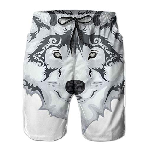 Men Swim Trunks Beach Shorts,Theajestic Beast Creature Head of A Wild Wolf Tribal Tattoo Design Art Print L -
