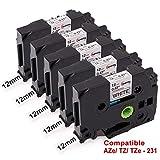 Upwinning 5x TZe-231 Bänder schwarz auf weiß Laminiert Etikettenband 12mm x 8m Ersetz Brother P-touch TZe231 Schriftband Kompatibel Ptouch H105 H110 D400 P700 900 1000 1005 1010 1280 1290 1830