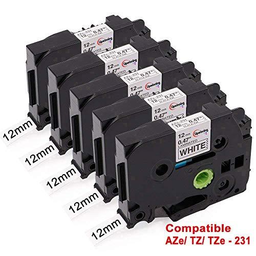 Upwinning 5x Ersetz Brother P-touch TZe-231 Bänder schwarz auf weiß Laminiert Etikettenband 12mm x 8m TZe231 Schriftband Kompatibel Ptouch H105 H110 D400 P700 900 1000 1005 1010 1280 1290 1830