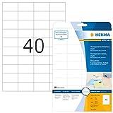 Herma 4684 Wetterfeste Folienetiketten transparent (52,5 x 29,7 mm) 1.000 Aufkleber, 25 Blatt A4 Klebefolie matt, bedruckbar, selbstklebend