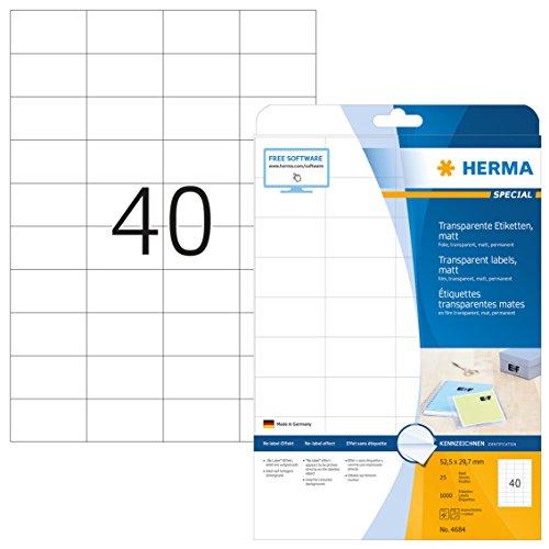 Herma 4684 Wetterfeste Folien-Etiketten transparent matt (52,5 x 29,7 mm) 1.000 Aufkleber, 25 Blatt DIN A4 Klebefolie, bedruckbar, selbstklebend