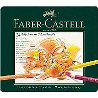 Faber-Castell 10116539 Lot de 24 Crayons de Couleur Polychromes Boîte Métal