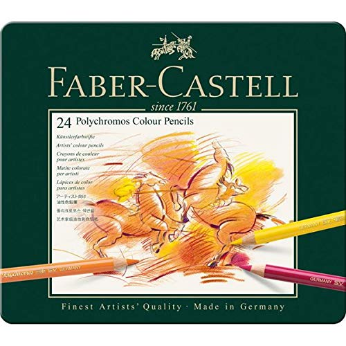 Faber-Castell 110096 Farbstifte Polychromos 24er Metalletui und Bleistift 9000 jumbo Set