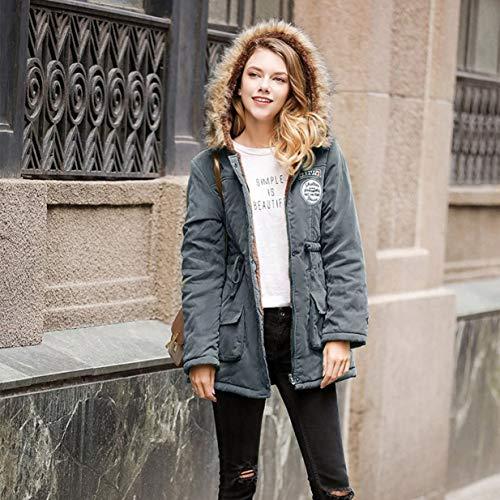 Banbie Damen verdickte Daunenjacke mit Kapuze warme Pelzkragen Baumwolle Kleidung Freizeit Anbau Berber Fleece -