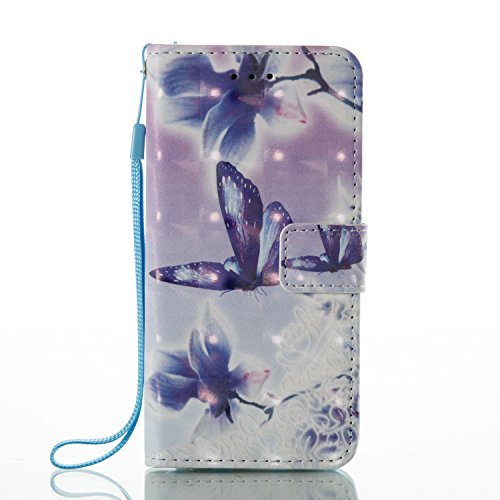 Portefeuille Etui pour iPhone 6S (4.7 Pouces),Housse Protection pour iPhone 6,Leeook Créatif 3D Sentiment Drôle Noir Blanc Vache Coloré Motif Conception PU Cuir Coque Livre Fin Case Cover de Protectio Violet Papillon Fleur