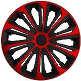 (Größe und Farbe wählbar!) 15 Zoll Radkappen / Radzierblenden STRONG BICOLOR ROT (Farbe Schwarz-Rot), passend für fast alle Fahrzeugtypen (universell) – nur beim Radkappen König
