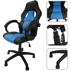 Silla de despacho ajustable de cuero sintético y mallas aireadas de color azul– Silla de oficina inclinable