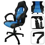 Todeco - Desk Chair, Gaming Chair - Size: 115 x 65 x 65 cm - Maximum load: 250 kg - Racing, Blue, Imitation leather and spaced mesh