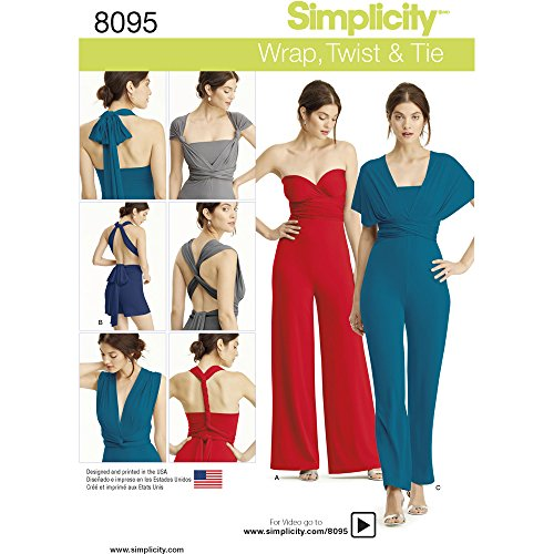 Simplicity Misses Knit Wrap/Twist and Tie Jumpsuit and Romper Sewing Pattern, Paper