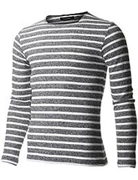 FLATSEVEN T-Shirt Homme Slim Fit Rayé à Manches Longues
