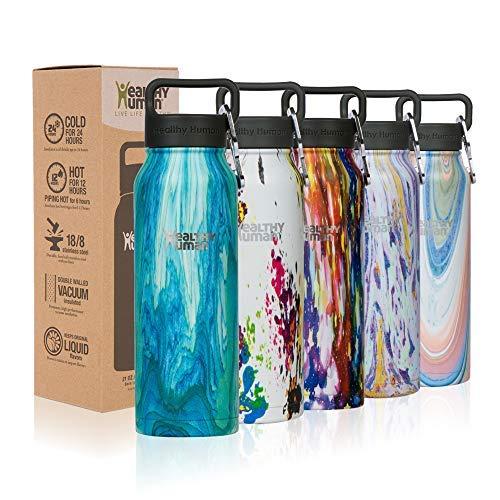 Healthy Human Wasser Flaschen - Kalt 24 Stunden heiss 12 Stunden. Vakuum isoliert Edelstahl doppelwandig Thermoskanne Stein Flasche mit Karabiner & Hydro Guide - Bora Bora, 32 OZ (Unzen 12 Wasser-flaschen)